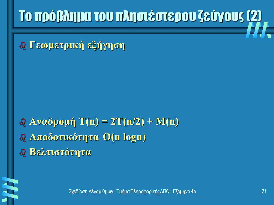 Σχεδίαση Αλγορίθμων - Τμήμα Πληροφορικής ΑΠΘ - Εξάμηνο 4ο21 b Γεωμετρική εξήγηση b Αναδρομή T(n) = 2T(n/2) + M(n) b Αποδοτικότητα O(n logn) b Βελτιστό