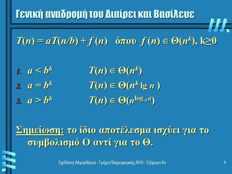 Σχεδίαση Αλγορίθμων - Τμήμα Πληροφορικής ΑΠΘ - Εξάμηνο 4ο4 Γενική αναδρομή του Διαίρει και Βασίλευε T(n) = aT(n/b) + f (n) όπου f (n) ∈ Θ(n k ), k≥0 1