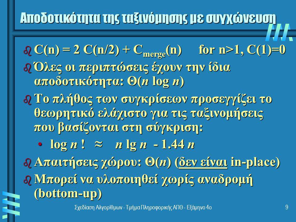 Σχεδίαση Αλγορίθμων - Τμήμα Πληροφορικής ΑΠΘ - Εξάμηνο 4ο9 Αποδοτικότητα της ταξινόμησης με συγχώνευση b C(n) = 2 C(n/2) + C merge (n) for n>1, C(1)=0