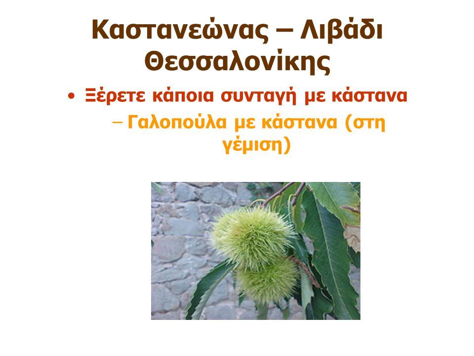 Καστανεώνας – Λιβάδι Θεσσαλονίκης Ξέρετε κάποια συνταγή με κάστανα –Γαλοπούλα με κάστανα (στη γέμιση)