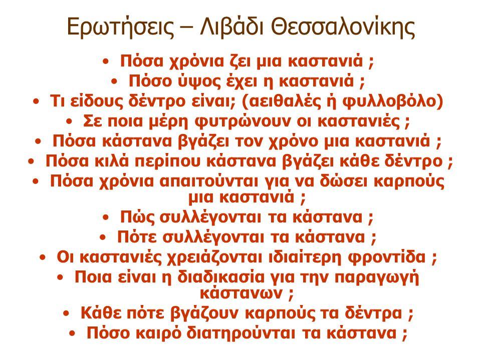 Ερωτήσεις – Λιβάδι Θεσσαλονίκης Πόσα χρόνια ζει μια καστανιά ; Πόσο ύψος έχει η καστανιά ; Τι είδους δέντρο είναι; (αειθαλές ή φυλλοβόλο) Σε ποια μέρη