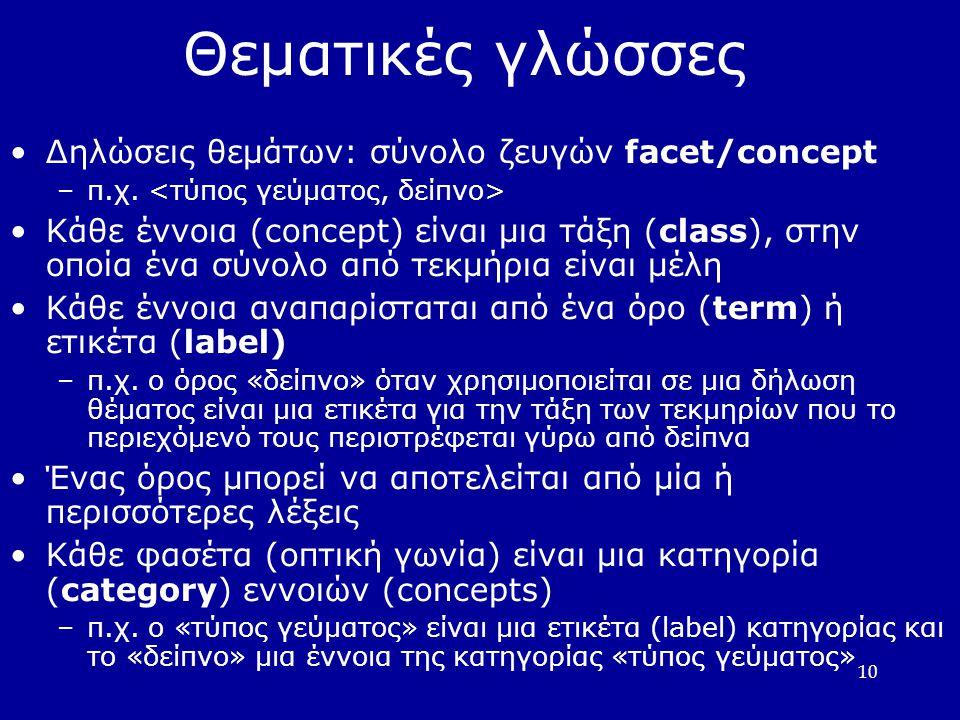 10 Θεματικές γλώσσες Δηλώσεις θεμάτων: σύνολο ζευγών facet/concept –π.χ. Κάθε έννοια (concept) είναι μια τάξη (class), στην οποία ένα σύνολο από τεκμή
