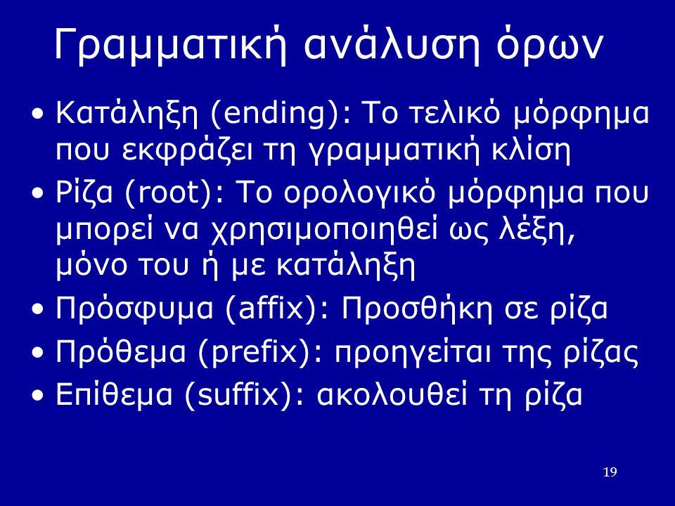 19 Γραµµατική ανάλυση όρων Κατάληξη (ending): Το τελικό µόρφηµα που εκφράζει τη γραµµατική κλίση Ρίζα (root): Το ορολογικό µόρφηµα που µπορεί να χρησιµοποιηθεί ως λέξη, µόνο του ή µε κατάληξη Πρόσφυµα (affix): Προσθήκη σε ρίζα Πρόθεµα (prefix): προηγείται της ρίζας Επίθεµα (suffix): ακολουθεί τη ρίζα
