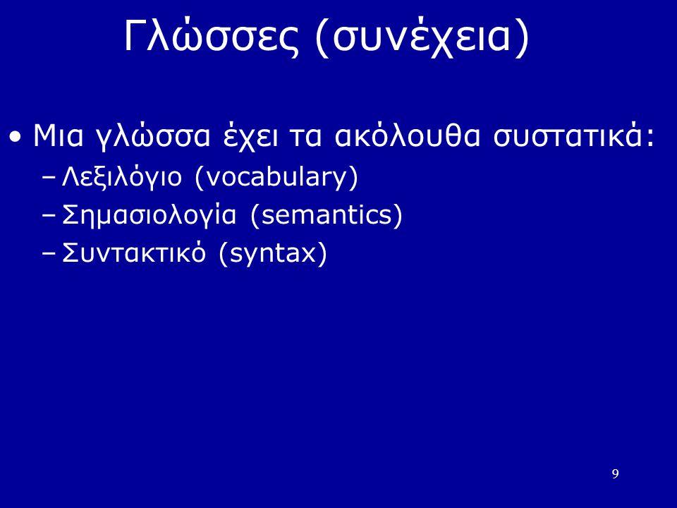 9 Γλώσσες (συνέχεια) Μια γλώσσα έχει τα ακόλουθα συστατικά: –Λεξιλόγιο (vocabulary) –Σημασιολογία (semantics) –Συντακτικό (syntax)