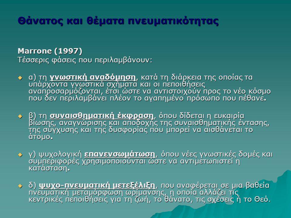 Θάνατος και θέματα πνευματικότητας Marrone (1997) Τέσσερις φάσεις που περιλαμβάνουν:  α) τη γνωστική αναδόμηση, κατά τη διάρκεια της οποίας τα υπάρχο