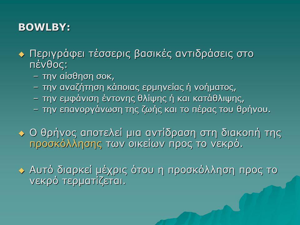 BOWLBY:  Περιγράφει τέσσερις βασικές αντιδράσεις στο πένθος: –την αίσθηση σοκ, –την αναζήτηση κάποιας ερμηνείας ή νοήματος, –την εμφάνιση έντονης θλί