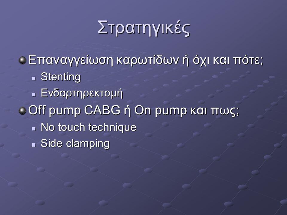 Στρατηγικές Επαναγγείωση καρωτίδων ή όχι και πότε; Stenting Stenting Ενδαρτηρεκτομή Ενδαρτηρεκτομή Off pump CABG ή On pump και πως; No touch technique