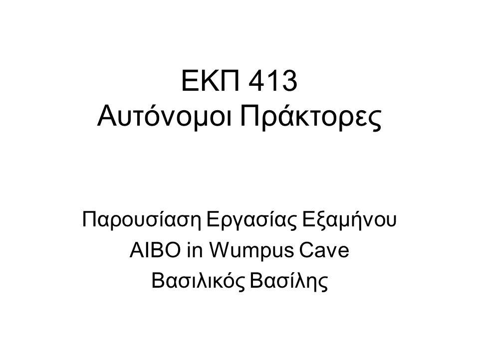 ΕΚΠ 413 Αυτόνομοι Πράκτορες Παρουσίαση Εργασίας Εξαμήνου AIBO in Wumpus Cave Βασιλικός Βασίλης