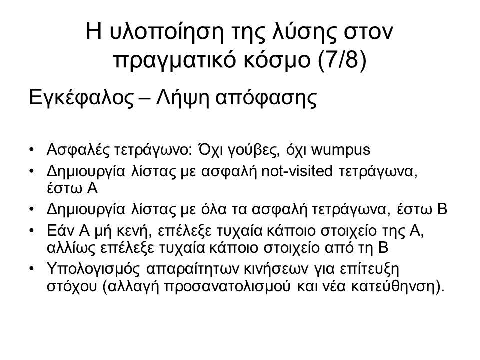 Η υλοποίηση της λύσης στον πραγματικό κόσμο (7/8) Εγκέφαλος – Λήψη απόφασης Ασφαλές τετράγωνο: Όχι γούβες, όχι wumpus Δημιουργία λίστας με ασφαλή not-visited τετράγωνα, έστω Α Δημιουργία λίστας με όλα τα ασφαλή τετράγωνα, έστω Β Εάν Α μή κενή, επέλεξε τυχαία κάποιο στοιχείο της Α, αλλίως επέλεξε τυχαία κάποιο στοιχείο από τη Β Υπολογισμός απαραίτητων κινήσεων για επίτευξη στόχου (αλλαγή προσανατολισμού και νέα κατεύθηνση).