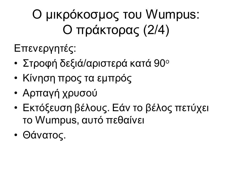 Ο μικρόκοσμος του Wumpus: Ο πράκτορας (2/4) Επενεργητές: Στροφή δεξιά/αριστερά κατά 90 ο Κίνηση προς τα εμπρός Αρπαγή χρυσού Εκτόξευση βέλους.