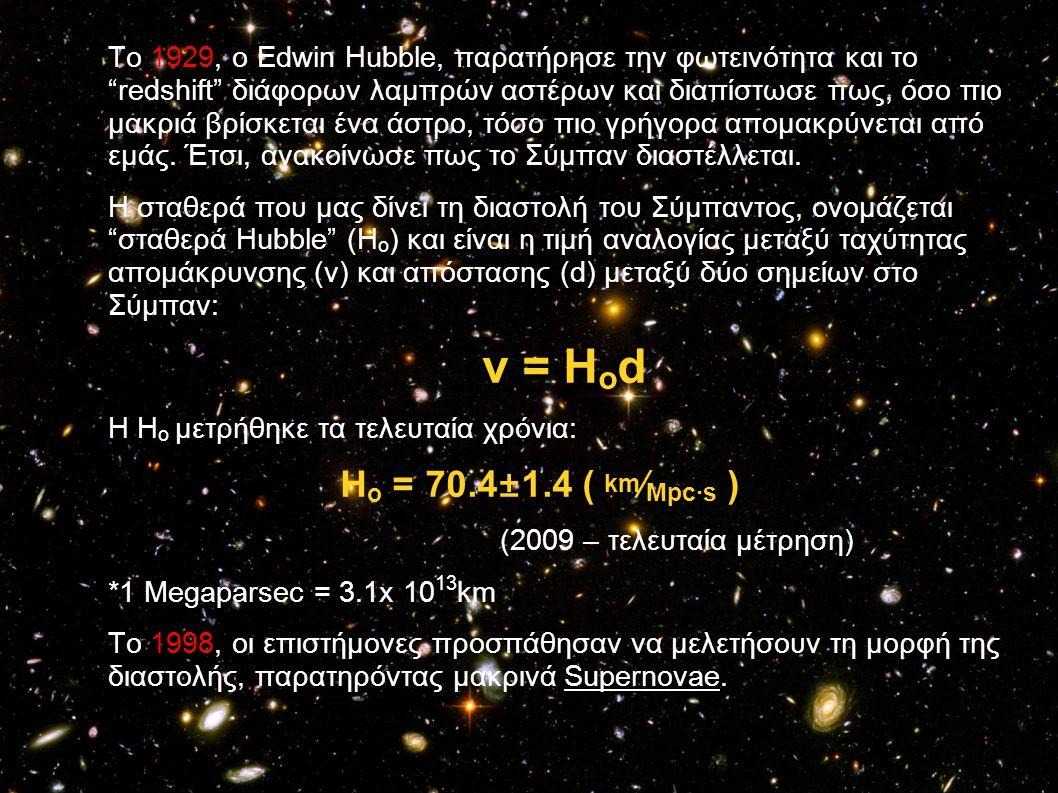 """Το 1929, ο Edwin Hubble, παρατήρησε την φωτεινότητα και το """"redshift"""" διάφορων λαμπρών αστέρων και διαπίστωσε πως, όσο πιο μακριά βρίσκεται ένα άστρο,"""