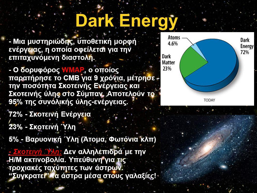 Dark Energy - Μια μυστηριώδης, υποθετική μορφή ενέργειας, η οποία οφείλεται για την επιταχυνόμενη διαστολή. - Ο δορυφόρος WMAP, ο οποίος παρατήρησε το