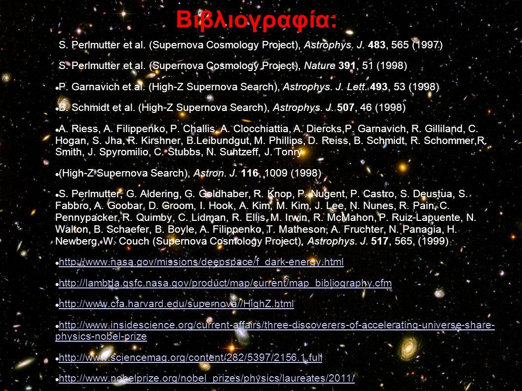 Βιβλιογραφία: S. Perlmutter et al. (Supernova Cosmology Project), Astrophys. J. 483, 565 (1997) S. Perlmutter et al. (Supernova Cosmology Project), Na