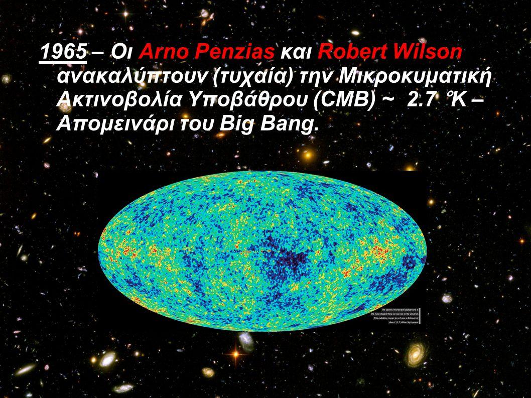 1965 – Οι Arno Penzias και Robert Wilson ανακαλύπτουν (τυχαία) την Μικροκυματική Ακτινοβολία Υποβάθρου (CMB) ~ 2.7 °K – Απομεινάρι του Big Bang.