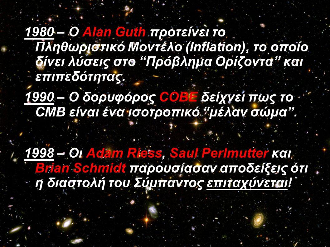 """1980 – Ο Alan Guth προτείνει το Πληθωριστικό Μοντέλο (Inflation), το οποίο δίνει λύσεις στο """"Πρόβλημα Ορίζοντα"""" και επιπεδότητας. 1990 – Ο δορυφόρος C"""