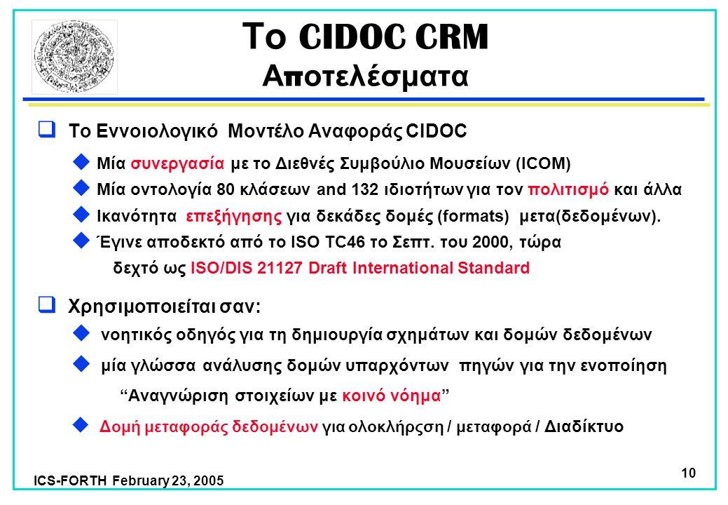 ICS-FORTH February 23, 2005 10 Το CIDOC CRM Α π οτελέσματα  Το Εννοιολογικό Μοντέλο Αναφοράς CIDOC  Μία συνεργασία με το Διεθνές Συμβούλιο Μουσείων (ICOM)  Μία οντολογία 80 κλάσεων and 132 ιδιοτήτων για τον πολιτισμό και άλλα  Ικανότητα επεξήγησης για δεκάδες δομές (formats) μετα(δεδομένων).