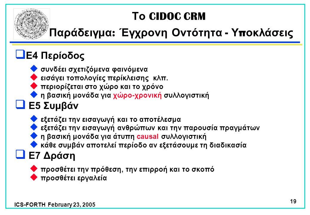 ICS-FORTH February 23, 2005 19 Το CIDOC CRM Παράδειγμα : Έγχρονη Οντότητα - Υ π οκλάσεις  E4 Περίοδος  συνδέει σχετιζόμενα φαινόμενα  εισάγει τοπολογίες περίκλεισης κλπ.