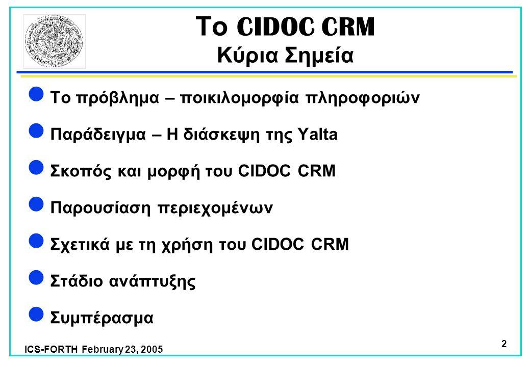ICS-FORTH February 23, 2005 2 Το CIDOC CRM Κύρια Σημεία Το πρόβλημα – ποικιλομορφία πληροφοριών Παράδειγμα – Η διάσκεψη της Yalta Σκοπός και μορφή του CIDOC CRM Παρουσίαση περιεχομένων Σχετικά με τη χρήση του CIDOC CRM Στάδιο ανάπτυξης Συμπέρασμα
