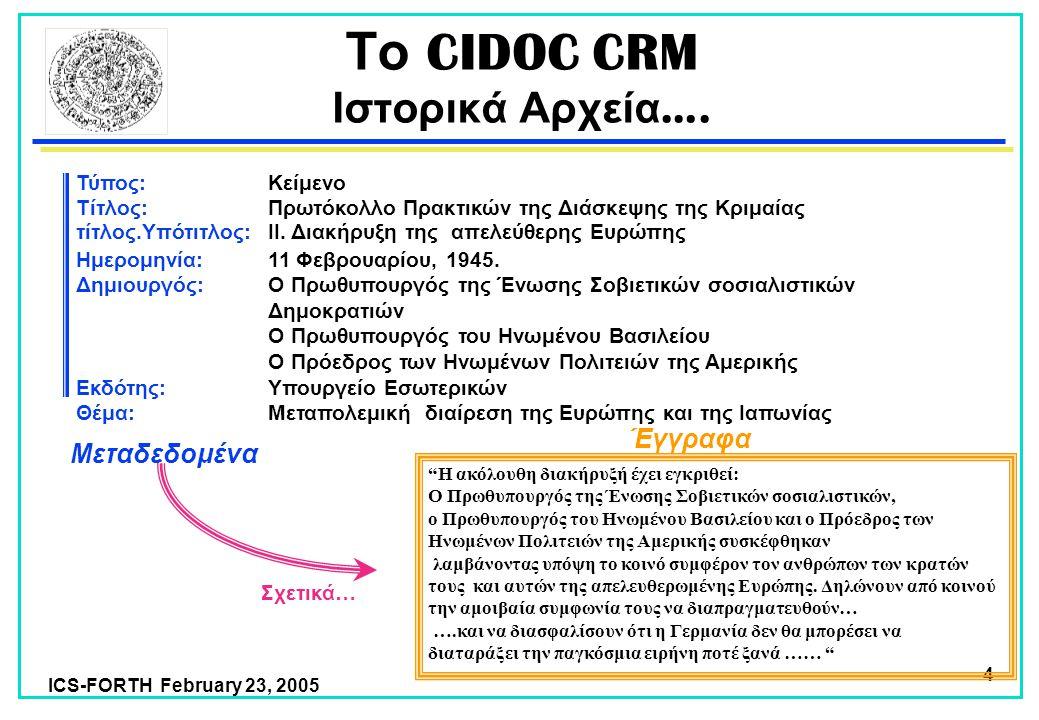 ICS-FORTH February 23, 2005 4 Το CIDOC CRM Ιστορικά Αρχεία ….