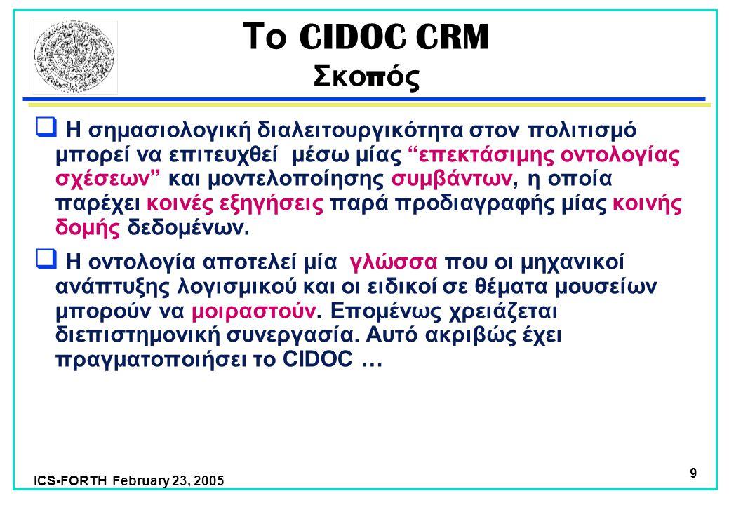 ICS-FORTH February 23, 2005 9 Το CIDOC CRM Σκο π ός  Η σημασιολογική διαλειτουργικότητα στον πολιτισμό μπορεί να επιτευχθεί μέσω μίας επεκτάσιμης οντολογίας σχέσεων και μοντελοποίησης συμβάντων, η οποία παρέχει κοινές εξηγήσεις παρά προδιαγραφής μίας κοινής δομής δεδομένων.
