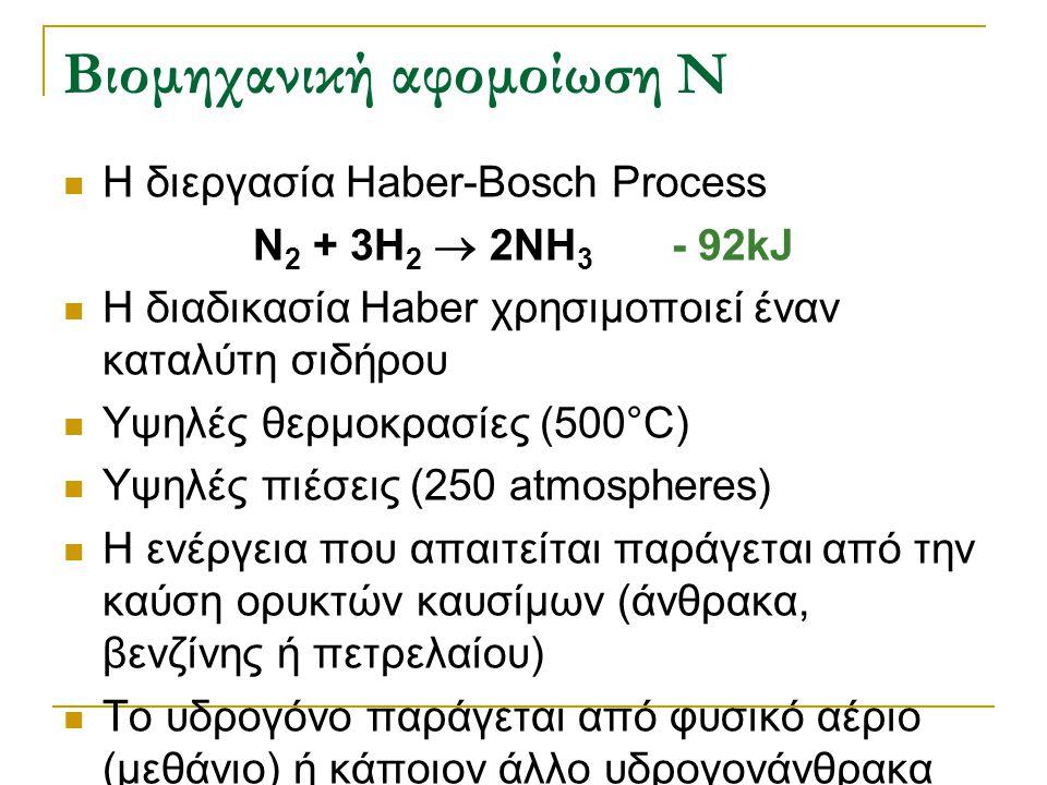 Βιομηχανική αφομοίωση N Η διεργασία Haber-Bosch Process N 2 + 3H 2  2NH 3 - 92kJ Η διαδικασία Haber χρησιμοποιεί έναν καταλύτη σιδήρου Υψηλές θερμοκρ