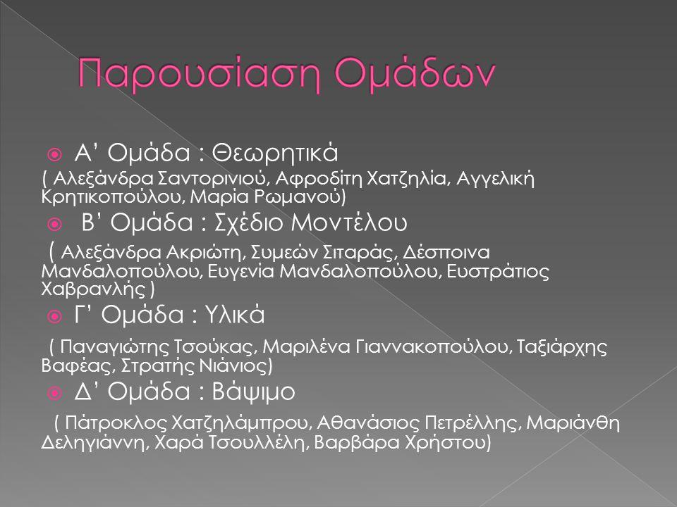  Α' Ομάδα : Θεωρητικά ( Αλεξάνδρα Σαντορινιού, Αφροδίτη Χατζηλία, Αγγελική Κρητικοπούλου, Μαρία Ρωμανού)  Β' Ομάδα : Σχέδιο Μοντέλου ( Αλεξάνδρα Ακριώτη, Συμεών Σιταράς, Δέσποινα Μανδαλοπούλου, Ευγενία Μανδαλοπούλου, Ευστράτιος Χαβρανλής )  Γ' Ομάδα : Υλικά ( Παναγιώτης Τσούκας, Μαριλένα Γιαννακοπούλου, Ταξιάρχης Βαφέας, Στρατής Νιάνιος)  Δ' Ομάδα : Βάψιμο ( Πάτροκλος Χατζηλάμπρου, Αθανάσιος Πετρέλλης, Μαριάνθη Δεληγιάννη, Χαρά Τσουλλέλη, Βαρβάρα Χρήστου)