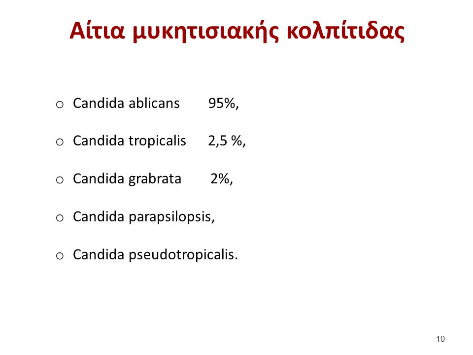Αίτια μυκητισιακής κολπίτιδας o Candida ablicans 95%, o Candida tropicalis 2,5 %, o Candida grabrata 2%, o Candida parapsilopsis, o Candida pseudotrop