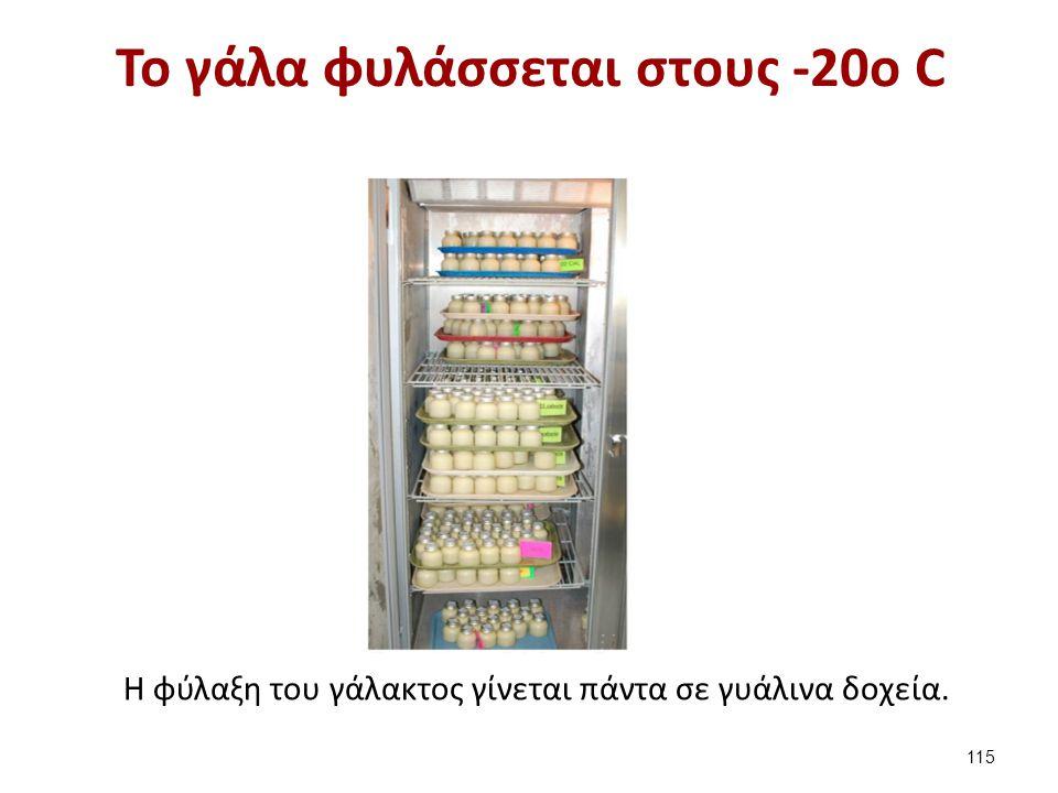 Το γάλα φυλάσσεται στους -20o C H φύλαξη του γάλακτος γίνεται πάντα σε γυάλινα δοχεία. 115