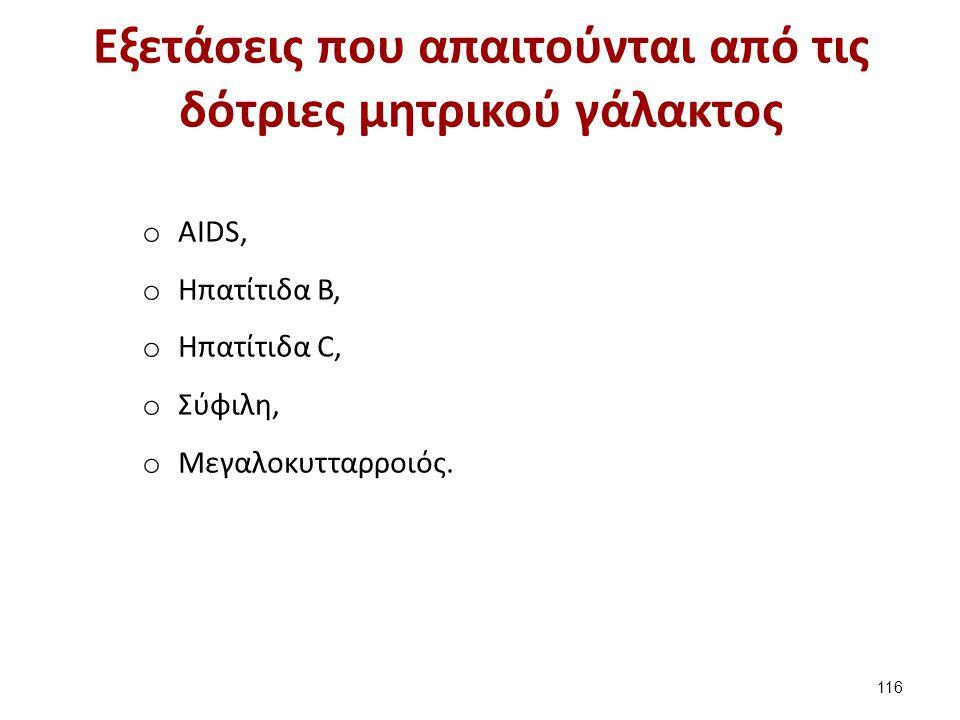 Εξετάσεις που απαιτούνται από τις δότριες μητρικού γάλακτος o ΑIDS, o Ηπατίτιδα Β, o Ηπατίτιδα C, o Σύφιλη, o Μεγαλοκυτταρροιός. 116