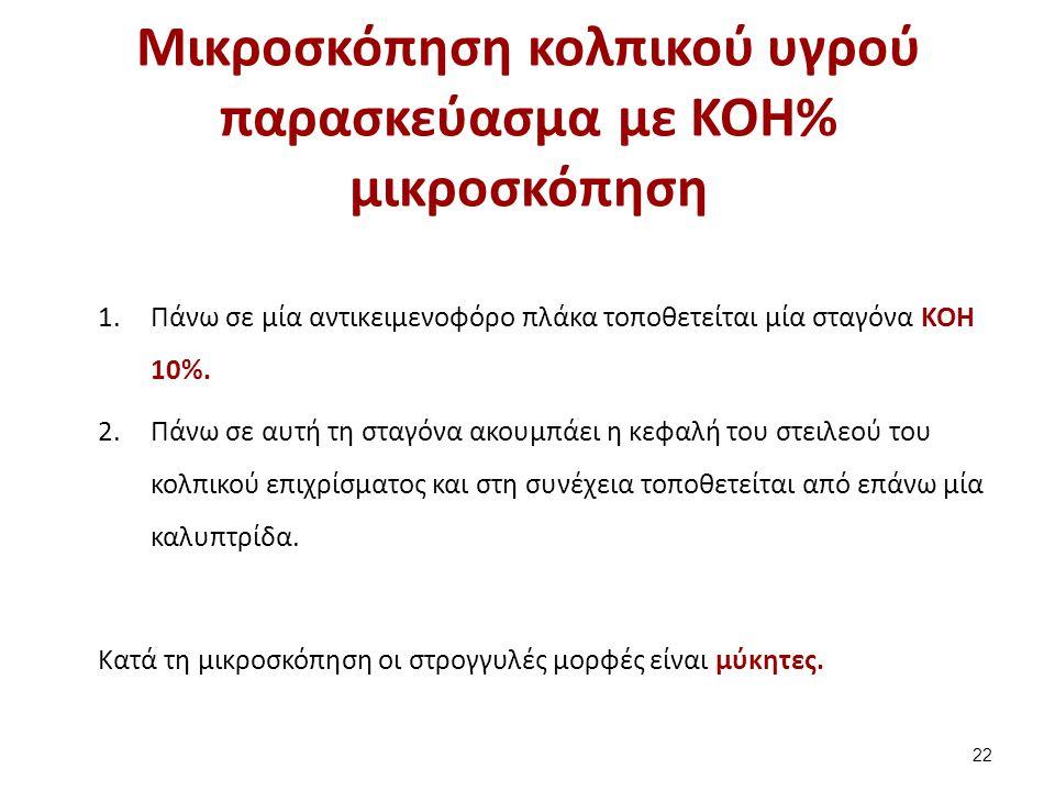 Μικροσκόπηση κολπικού υγρού παρασκεύασμα με KOH% μικροσκόπηση 22 1.Πάνω σε μία αντικειμενοφόρο πλάκα τοποθετείται μία σταγόνα ΚΟΗ 10%. 2.Πάνω σε αυτή