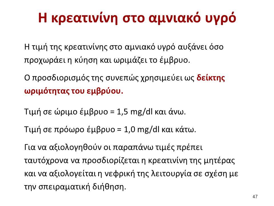 Η κρεατινίνη στο αμνιακό υγρό Η τιμή της κρεατινίνης στο αμνιακό υγρό αυξάνει όσο προχωράει η κύηση και ωριμάζει το έμβρυο. Ο προσδιορισμός της συνεπώ