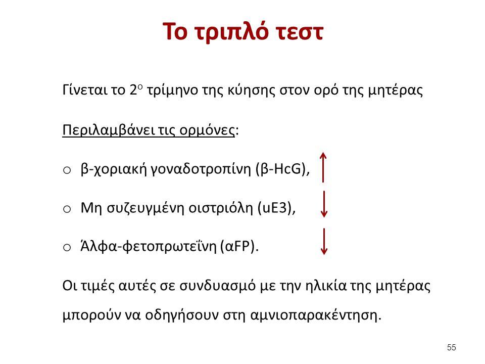 Το τριπλό τεστ Γίνεται το 2 ο τρίμηνο της κύησης στον ορό της μητέρας Περιλαμβάνει τις ορμόνες: o β-χοριακή γοναδοτροπίνη (β-HcG), o Μη συζευγμένη οισ