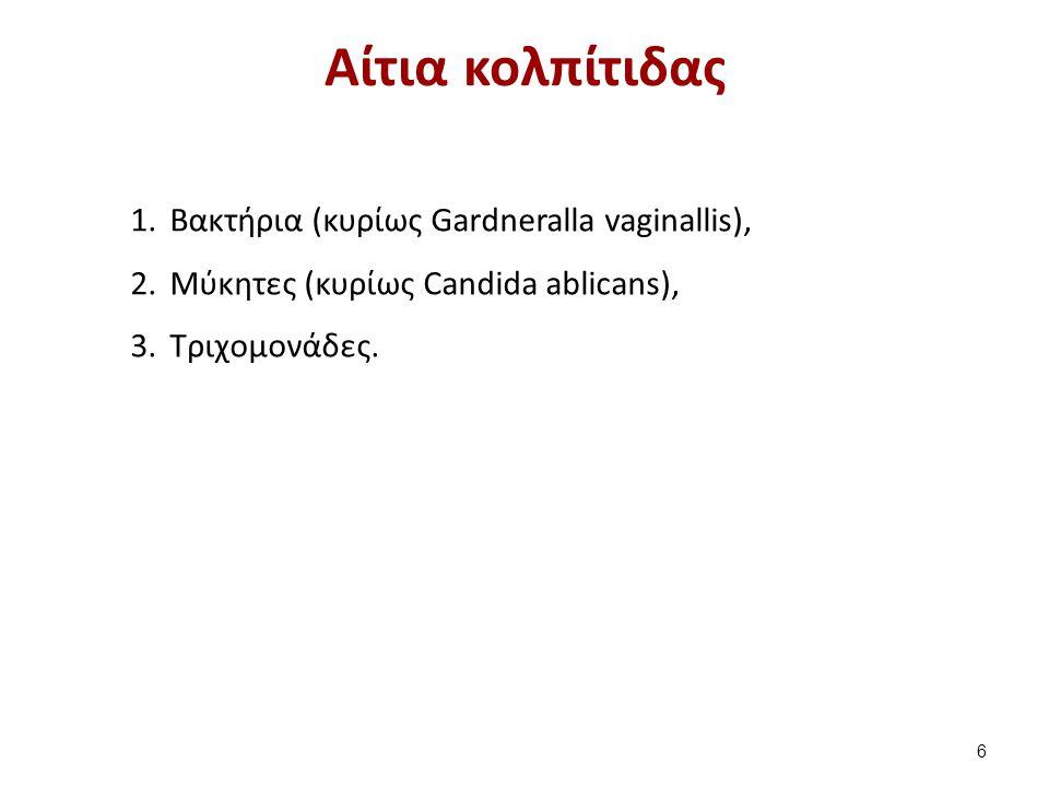 Αίτια κολπίτιδας 1.Βακτήρια (κυρίως Gardneralla vaginallis), 2.Μύκητες (κυρίως Candida ablicans), 3.Τριχομονάδες. 6