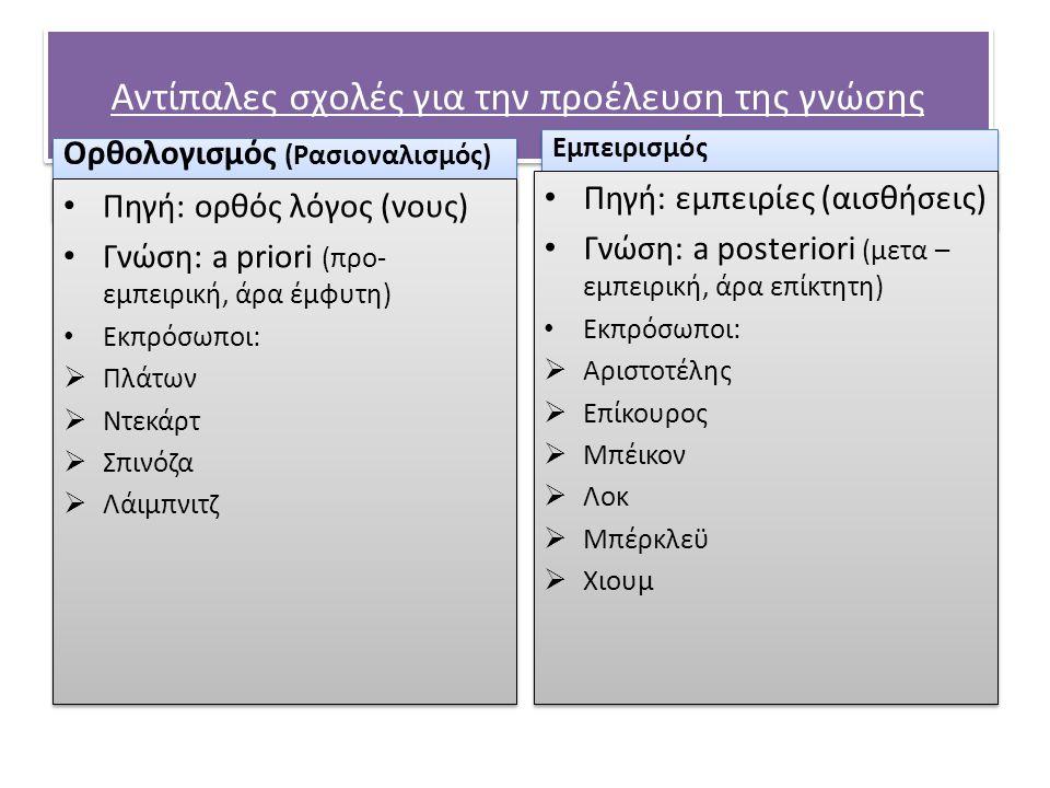 Αντίπαλες σχολές για την προέλευση της γνώσης Ορθολογισμός (Ρασιοναλισμός) Πηγή: ορθός λόγος (νους) Γνώση: a priori (προ- εμπειρική, άρα έμφυτη) Εκπρό