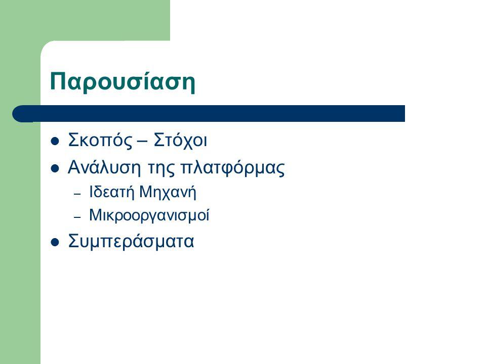 Παρουσίαση Σκοπός – Στόχοι Ανάλυση της πλατφόρμας – Ιδεατή Μηχανή – Μικροοργανισμοί Συμπεράσματα