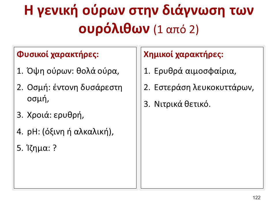 Η γενική ούρων στην διάγνωση των ουρόλιθων (1 από 2) Φυσικοί χαρακτήρες: 1.Όψη ούρων: θολά ούρα, 2.Οσμή: έντονη δυσάρεστη οσμή, 3.Χροιά: ερυθρή, 4.pH: (όξινη ή αλκαλική), 5.Ίζημα: .
