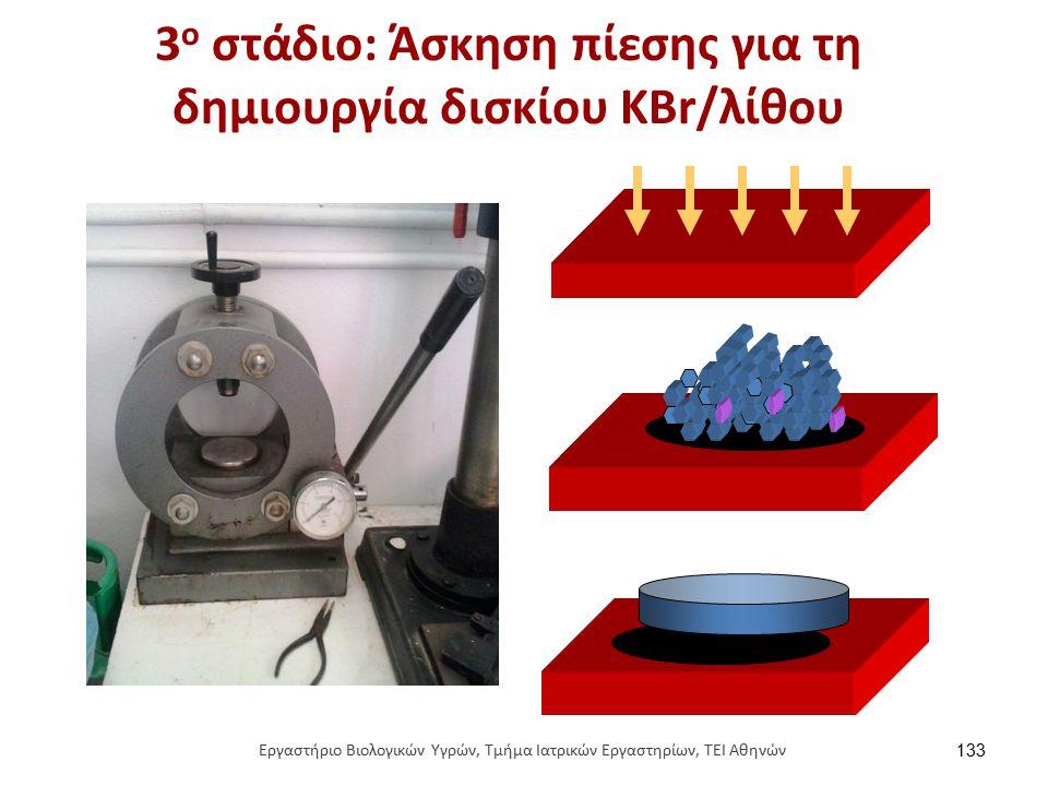 3 o στάδιο: Άσκηση πίεσης για τη δημιουργία δισκίου ΚΒr/λίθου 133 Εργαστήριο Βιολογικών Υγρών, Τμήμα Ιατρικών Εργαστηρίων, ΤΕΙ Αθηνών