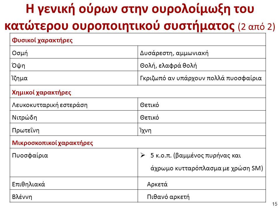 Η γενική ούρων στην ουρολοίμωξη του κατώτερου ουροποιητικού συστήματος (2 από 2) Φυσικοί χαρακτήρες ΟσμήΔυσάρεστη, αμμωνιακή ΌψηΘολή, ελαφρά θολή ΊζημαΓκριζωπό αν υπάρχουν πολλά πυοσφαίρια Χημικοί χαρακτήρες Λευκοκυτταρική εστεράσηΘετικό ΝιτρώδηΘετικό ΠρωτεΐνηΊχνη Μικροσκοπικοί χαρακτήρες Πυοσφαίρια  5 κ.ο.π.