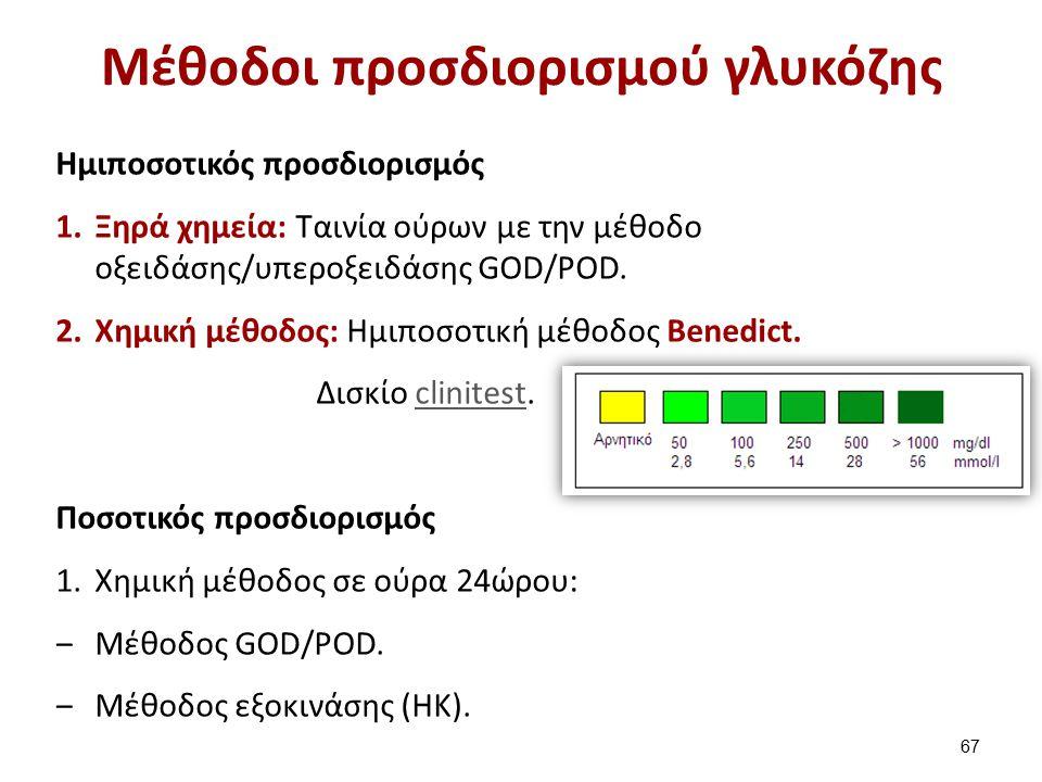 Μέθοδοι προσδιορισμού γλυκόζης Ημιποσοτικός προσδιορισμός 1.Ξηρά χημεία: Tαινία ούρων με την μέθοδο οξειδάσης/υπεροξειδάσης GOD/POD.