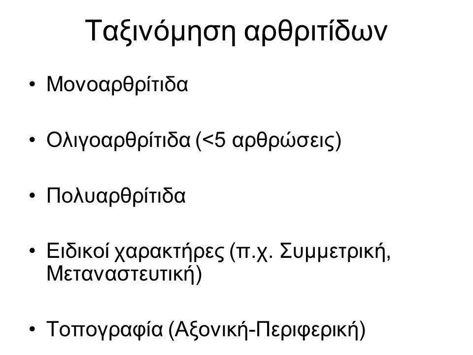 Ταξινόμηση αρθριτίδων Μονοαρθρίτιδα Ολιγοαρθρίτιδα (<5 αρθρώσεις) Πολυαρθρίτιδα Ειδικοί χαρακτήρες (π.χ. Συμμετρική, Μεταναστευτική) Τοπογραφία (Αξονι