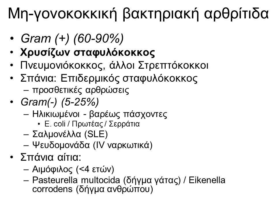 Μη-γονοκοκκική βακτηριακή αρθρίτιδα Gram (+) (60-90%) Χρυσίζων σταφυλόκοκκος Πνευμονιόκοκκος, άλλοι Στρεπτόκοκκοι Σπάνια: Επιδερμικός σταφυλόκοκκος –π
