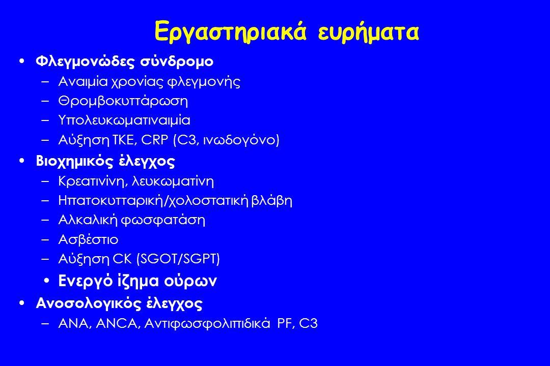 Εργαστηριακά ευρήματα Φλεγμονώδες σύνδρομο –Αναιμία χρονίας φλεγμονής –Θρομβοκυττάρωση –Υπολευκωματιναιμία –Αύξηση ΤΚΕ, CRP (C3, ινωδογόνο) Βιοχημικός έλεγχος –Κρεατινίνη, λευκωματίνη –Ηπατοκυτταρική/χολοστατική βλάβη –Αλκαλική φωσφατάση –Ασβέστιο –Αύξηση CK (SGOT/SGPT) Ενεργό ίζημα ούρων Ανοσολογικός έλεγχος –ANA, ANCA, Αντιφωσφολιπιδικά PF, C3