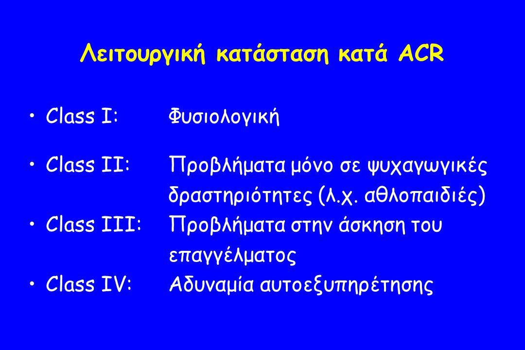 Λειτουργική κατάσταση κατά ACR Class I:Φυσιολογική Class II:Προβλήματα μόνο σε ψυχαγωγικές δραστηριότητες (λ.χ.
