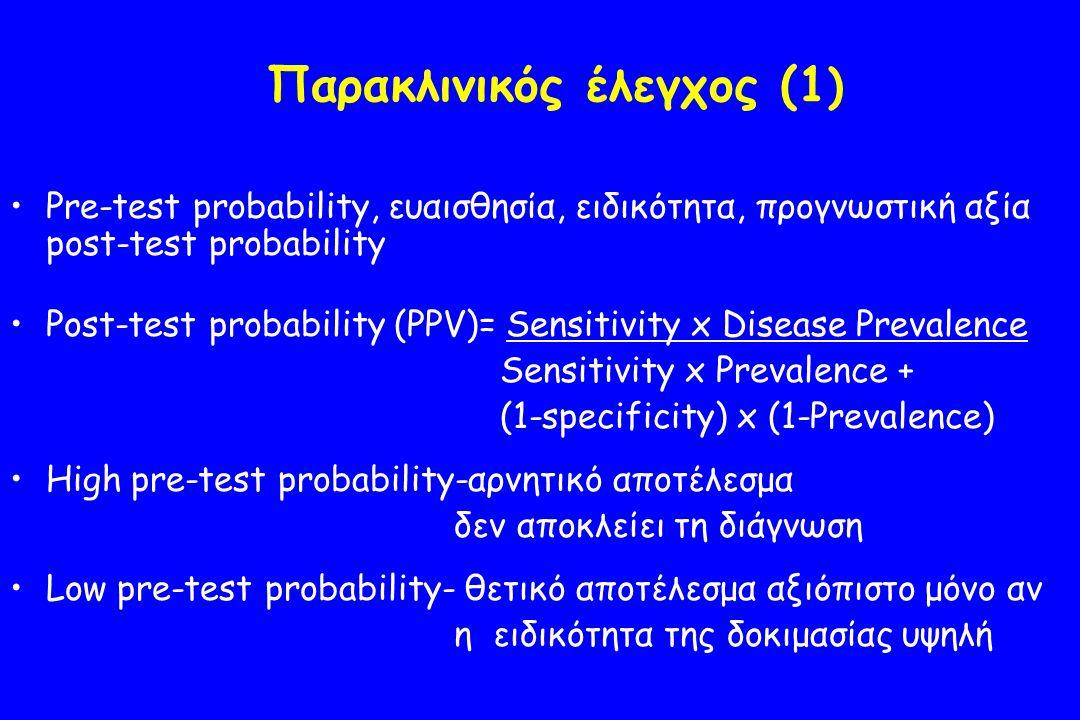 Παρακλινικός έλεγχος (1 ) Pre-test probability, ευαισθησία, ειδικότητα, προγνωστική αξία post-test probability Post-test probability (PPV)= Sensitivity x Disease Prevalence Sensitivity x Prevalence + (1-specificity) x (1-Prevalence) High pre-test probability-αρνητικό αποτέλεσμα δεν αποκλείει τη διάγνωση Low pre-test probability- θετικό αποτέλεσμα αξιόπιστο μόνο αν η ειδικότητα της δοκιμασίας υψηλή