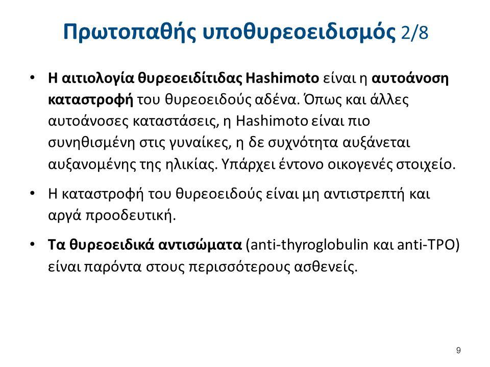 Πρωτοπαθής υποθυρεοειδισμός 2/8 Η αιτιολογία θυρεοειδίτιδας Hashimoto είναι η αυτοάνοση καταστροφή του θυρεοειδούς αδένα. Όπως και άλλες αυτοάνοσες κα