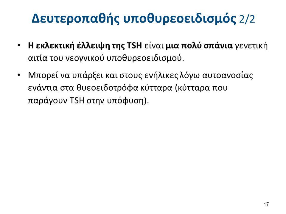 Δευτεροπαθής υποθυρεοειδισμός 2/2 Η εκλεκτική έλλειψη της TSH είναι μια πολύ σπάνια γενετική αιτία του νεογνικού υποθυρεοειδισμού. Μπορεί να υπάρξει κ