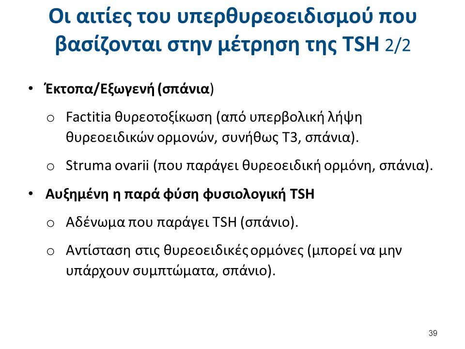 Οι αιτίες του υπερθυρεοειδισμού που βασίζονται στην μέτρηση της TSH 2/2 Έκτοπα/Εξωγενή (σπάνια) o Factitia θυρεοτοξίκωση (από υπερβολική λήψη θυρεοειδ