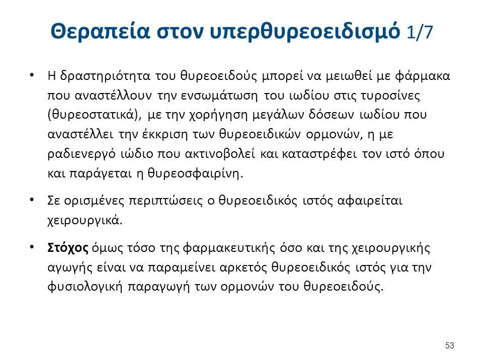 Θεραπεία στον υπερθυρεοειδισμό 1/7 Η δραστηριότητα του θυρεοειδούς μπορεί να μειωθεί με φάρμακα που αναστέλλουν την ενσωμάτωση του ιωδίου στις τυροσίν