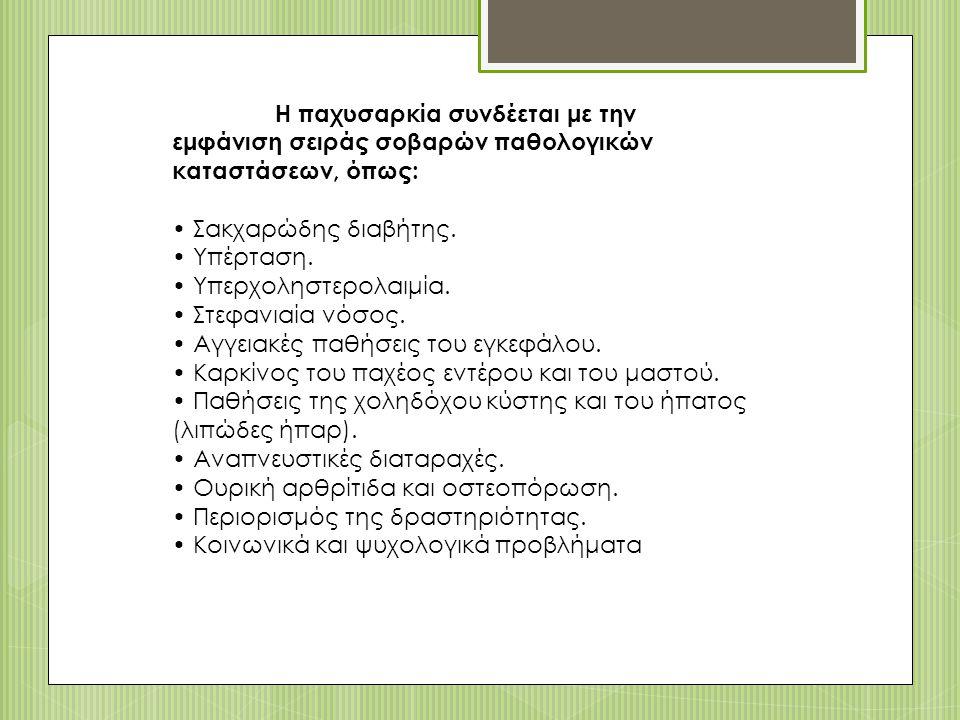 Η παχυσαρκία συνδέεται με την εμφάνιση σειράς σοβαρών παθολογικών καταστάσεων, όπως: Σακχαρώδης διαβήτης.