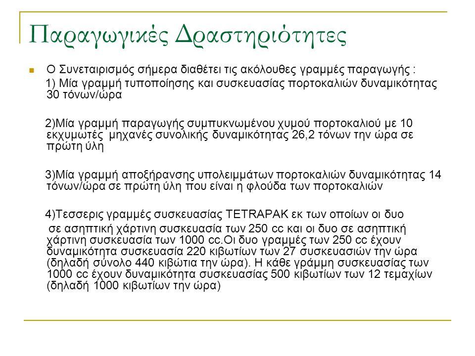 Παραγωγικές Δραστηριότητες Ο Συνεταιρισμός σήμερα διαθέτει τις ακόλουθες γραμμές παραγωγής : 1) Μία γραμμή τυποποίησης και συσκευασίας πορτοκαλιών δυν